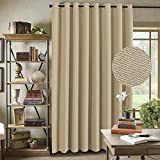 curtain panels for doors - H.VERSAILTEX Energy Saving Ultra Thick and Durable Textured Rich Linen Thermal Insulated Patio Curtains, Grommet Decorative Sliding Door Curtain Panel, W100 x L96 inch-Beige (Set of 1)