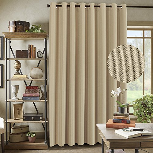 "H.Versailtex Wide Width Space Smart Thermal Insulated Blackout Curtain for Sliding Door, Rich Linen Antique Bronze Grommet Top - Patio Door Curtain Panel in Beige - 100""W x 84""L - (1 Panel)"