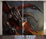 Ambesonne Medieval Decor Collection, Fantasy Scene Fearless Knight Fighting with Dragon Danger Fire Breathing Mythology Themed Art, Living Room Bedroom Curtain 2 Panels Set, 108 X 84 Inches, Paprika Review