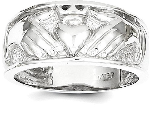 ICE CARATS 14k White Gold Mens Irish Claddagh Celtic Knot Band Ring Size 10.00 Man Fine Jewelry Dad Mens Gift Set