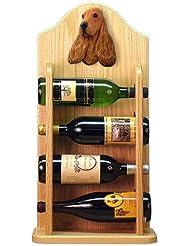 Michael Park RED English Cocker Spaniel Wine Rack 4 Bottle Light Oak