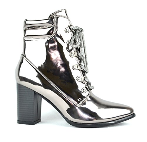 Chase & Chloe Ava-1 Pointy Toe Chunky Heel Lace Up Womens Ankle Bootie Gunmetal o84MdGc