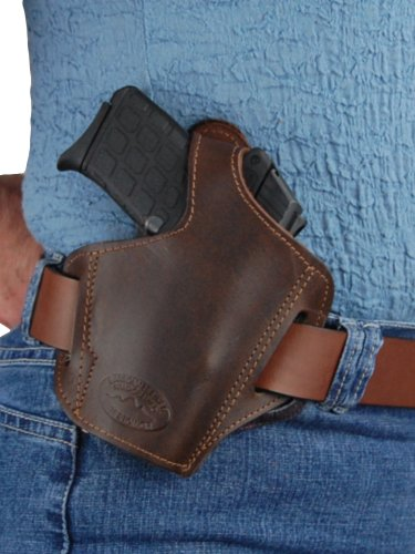 Barsony Brown Leather Pancake Holster for Colt Mustang Pony Right