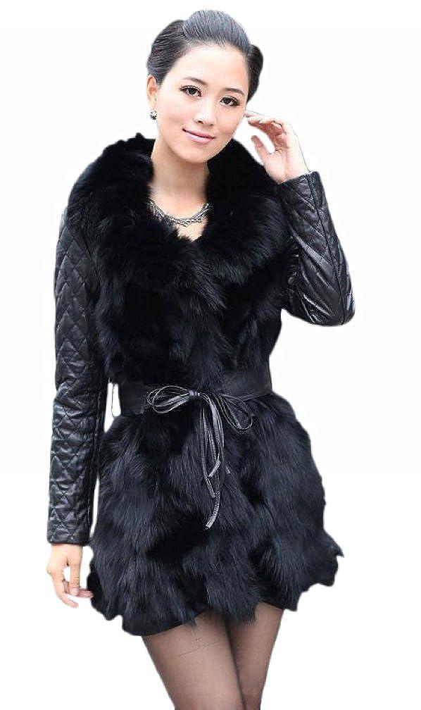 f3a49ab98f Queenshiny Long Women's Sheepskin Fox Fur Coat With Fox Collar at Amazon Women's  Coats Shop