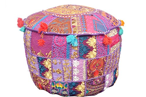 ttoman 100% Cotton Traditional Vintage Indian Round Pouf Floor Cushion Cover / Chair Cover / Decorative Foot Stool - Only Cover, Filler not Included (Vintage Filler)