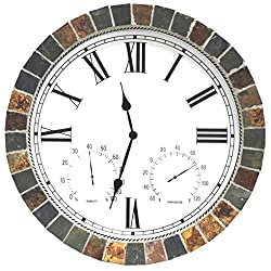 """Indoor Outdoor Patio and Pool 15"""" Wall Clock with Humidity and Temperature Dials is Made of Natural Textured Ceramic Tiles for Home Kitchen and Office Decor / Roman Numeral"""