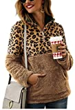 Angashion Womens Long Sleeve Half Zip Up Warm Fuzzy Leopard Print Patchwork Fleece Pullover Tops with Pocket for Winter Khaki M
