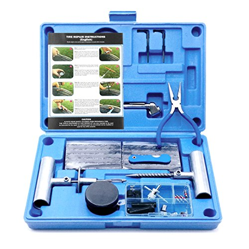 MAIKEHIGH Heavy Duty Tyre Puncture Repair Kit - 67 Pc Set Auto, Motorcycle,...