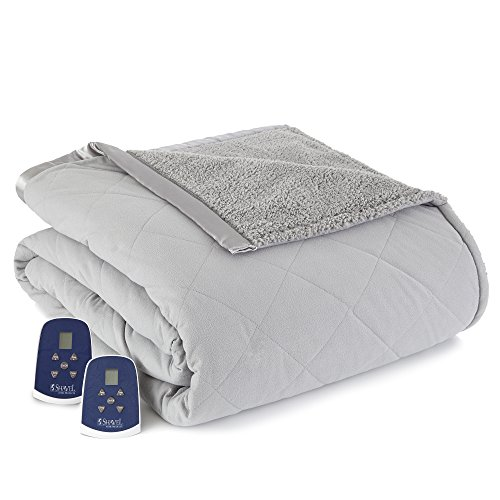 Thermee Micro Flannel Electric Blanket with Sherpa, Slate Grey, Queen