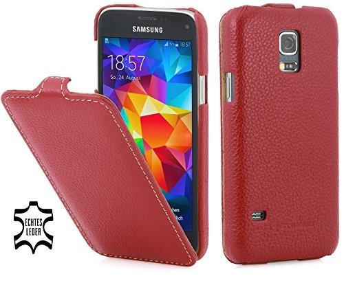 StilGut UltraSlim Genuine Leather Case for Samsung Galaxy S5 Mini, Red