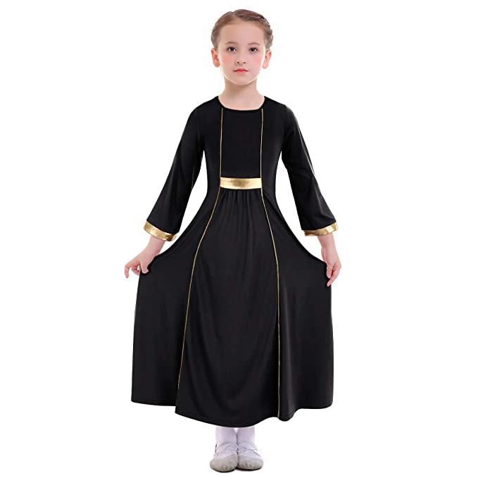 74febcdd4df IMEKIS Kids Toddlers Girls Liturgical Praise Lyrical Dance Dress Loose Fit  Full Length Long Sleeve Worship