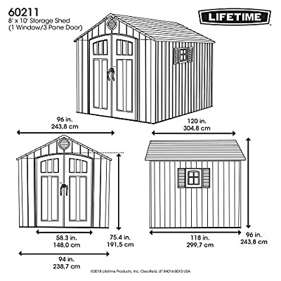 Lifetime-60211-Storage-Shed-with-1-Window3-Pane-Door-Grey-8-x-10-ft-Rough-Cut
