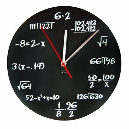 "Review DCI Pop Quiz Clock, Black and White, Metal, 11-1/2"" Diameter, Mathematics Teacher Gift, Wall Clock for Classroom, Home, Office"
