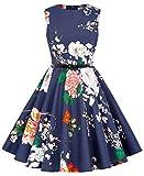 Kate Kasin Girl's Vintage Floral Spring Garden Party Cocktail Picnic Dresses 11-12Yrs K250-24
