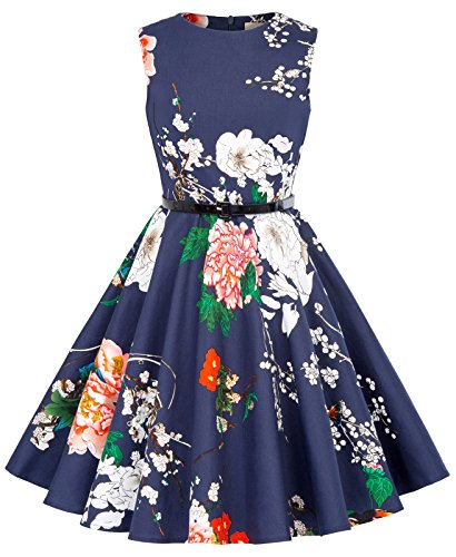 Girl's Floral 50's Vintage Knee-Length Round Neck Swing Tea Dresses 9~10Yrs K250-24]()