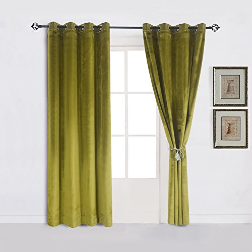 Super Soft Luxury Velvet Moss Green |olive GreenSet of 2 Thermal Blackout Curtain Panel Drapes Grommet Draperies Eyelet 52Wx96L inch Green-yellow(2 panels) ()