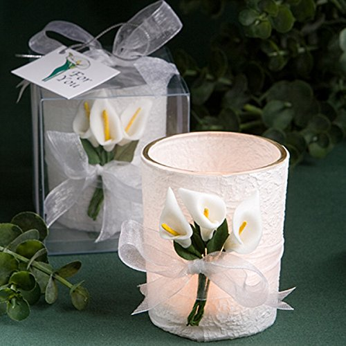 Calla Lily Design Wedding Candle Favors, 2 1/2 Inch, Pack of 4