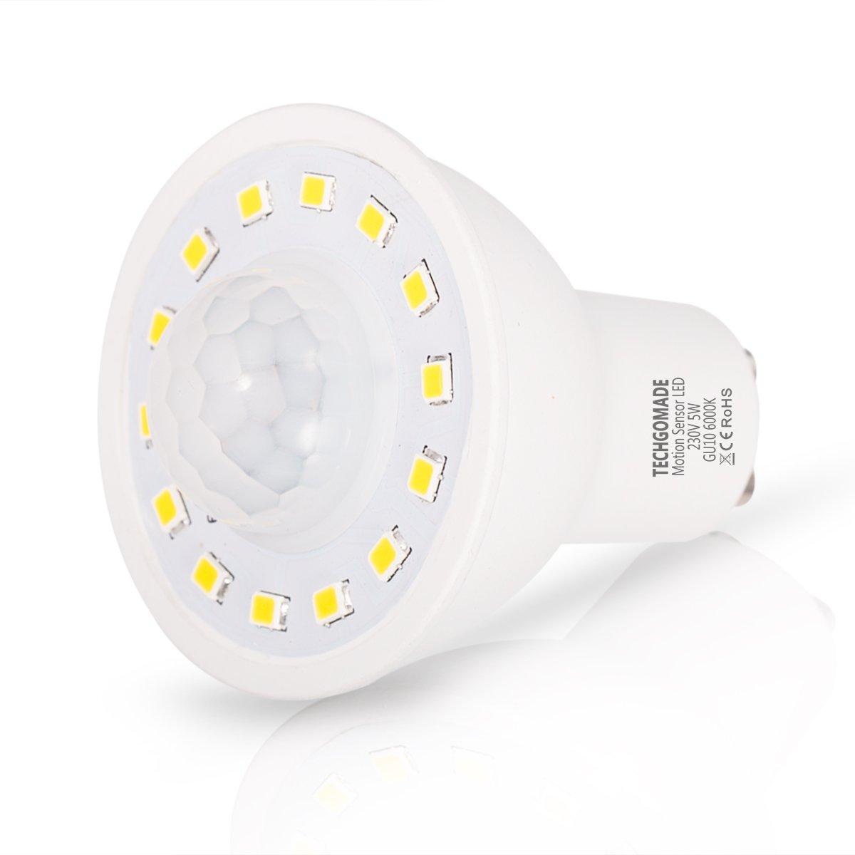 2 x bombillas de sensor de movimiento, TECHGOMADE 5W LED GU10, equivalente a 50w incandescente, 500lm, blanco de día 6000K, lámpara de infrarrojos de luz ...