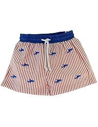 Infant Toddler Boys Red Striped Seersucker Swim Trunks Swimsuit Blue Sharks Anavini
