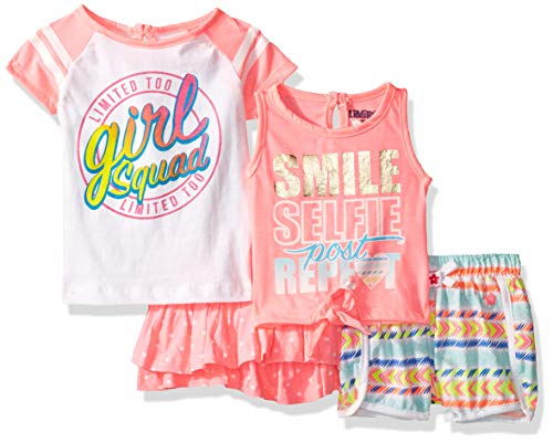 Limited Top Shirt Too - Limited Too Baby Girls Sleeve T-Shirt, Tank Top, Skirt and Short Set, Selfie Multi 12M