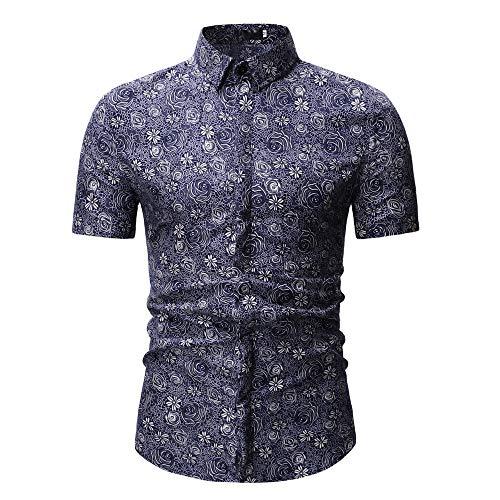 Camouflage Tops nouveau Courtes Lapel Hauts Pourpre Hommes D'impression Ihengh Mode Manches À Blouse Pour Modèle Casual Shirt 85Cygxq