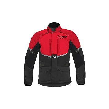 JET Chaqueta Moto Hombre Textil Impermeable con Armadura Tourer (L (EU 50-52), Rojo)