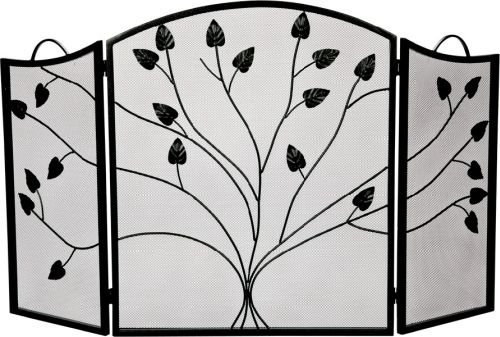 Black 3 Fold Arched Panel Screen with Leaf Design - 31 inch