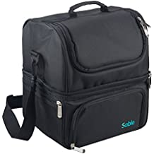 Lunch Box for Women, Insulated Lunch Bag for Men, Sable Reusable Waterproof Large Cooler Tote Bag for Meal Prep with 2 Main Spacious Compartments