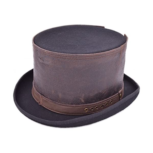 Euro Steampunk Leather Strapped TOP Hat 4