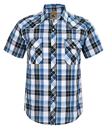 Coevals Club Men's Button Down Plaid Short Sleeve Work Casual Shirt (Blue & Black #17, XXL)