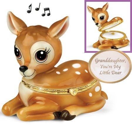 - 0112533001 MUSICAL MY LITTLE DEAR GRANDDAUGHTER PORCELAIN MY LITTLE DEER GRANDDAUGHTER MUSIC BOX Ashton Drake