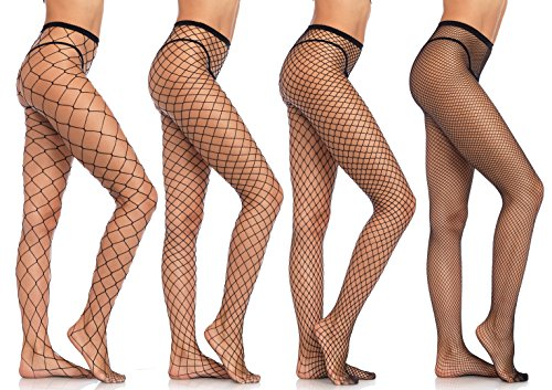 Leg Avenue Women's Bundle Fishnet Hosiery Assortment, Black, One (Black Industrial Fishnet)