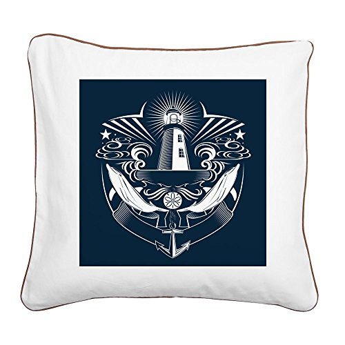 Square Canvas Throw Pillow Brown Lighthouse Crest Anchor Dolphins