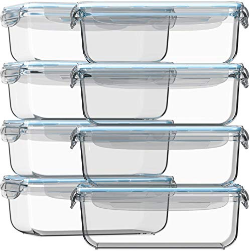 Razab 16 Pc 30 oz (8 Container set) Glass Food Storage Containers w/Airtight Lids - FREE 14 Measuring Cups/Spoons ($12 value) Microwave/Oven/Freezer & Dishwasher Safe - BPA/PVC Free - For Meal Prep