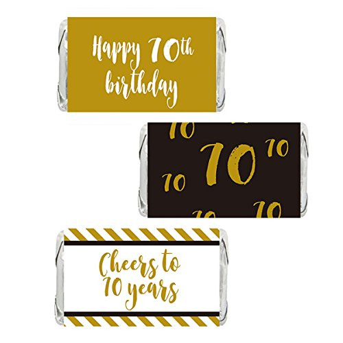 Gold 70th Birthday Miniatures Candy Bar Wrapper Stickers, Party Favor Labels, 54 Count (Birthday Candy Wrappers)