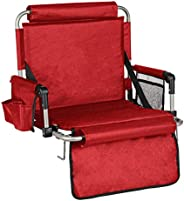 Alpcour Foldable Stadium Bleacher Seat with Backrest and Armrest - Durable and Portable Padded Chair with Pock
