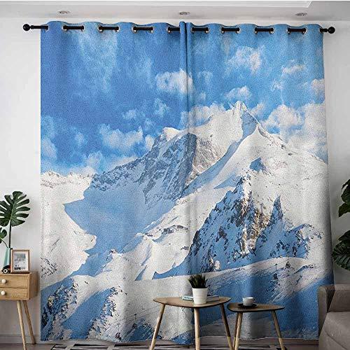 (AGONIU Window Curtain Panel,Mountain Mountain Landscape Ski Slope Winter Seasonal Sport Telfer and Snowboarding Image,Curtains for Living Room,W72x96L White Blue)