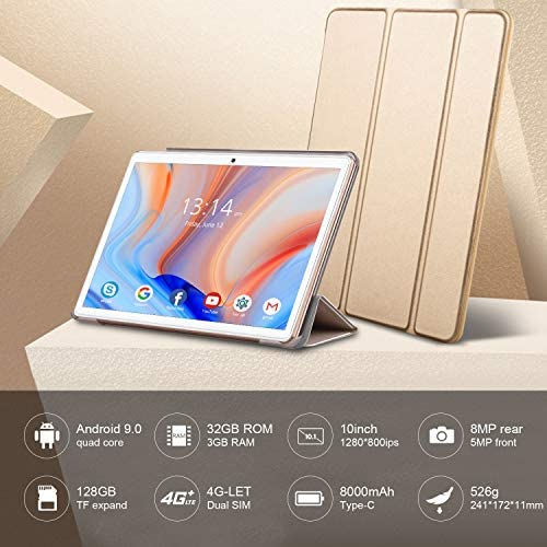 [2020 New] Tablets, 10.1 inch Tablet, Android 9.0 Pie Tablet, Quad-Core Processor, 3GB RAM 32GB ROM with 1280×800 IPS HD Display, Dual SIM 4G, 8MP Rear Camera, Bluetooth 5.0, WiFi, GPS- (Gold) 512UqWFnMeL