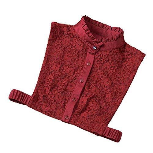De Collar Vin La Falso Falda Rouge Camisa Medio Cuello pSUMVzq