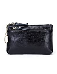Wallet for Women Fmeida Coin Purse Pouch Leather Zipper Change ID Holder (Black)