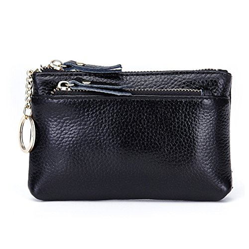 Coin Purse Pouch, Fmeida Leather Black Wallet with Keychain,Triple Zipper Change Holder for Women by Fmeida