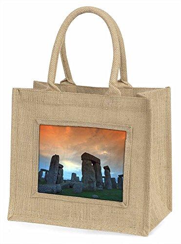 Advanta Stonehenge Solstice Sunset Große Einkaufstasche/Weihnachten Geschenk, Jute, beige/natur, 42x 34,5x 2cm