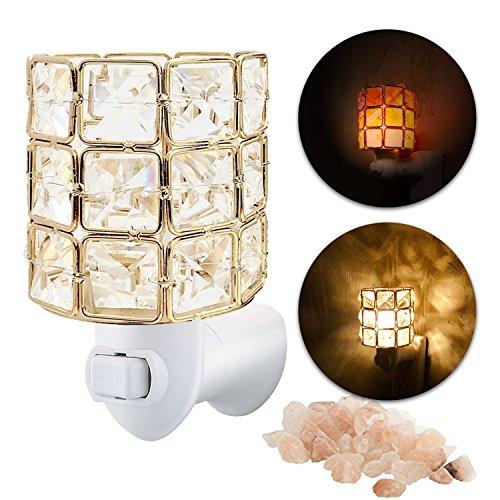 Maymii•Home Mini Himalayan Salt Night Light Lights Lamp, Sea Salt Crystal Chunk in Gold Mosic Glass Crystal Vase Cylinder Lantern Basket Firw Bowl,UL Approved Plug 2 Bulbs, Pulg in Wall -