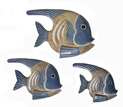 WorldBazzar Beautiful Unique Set of 3 Angel Wooden Fish Hanging Wall Art Hand Carved Statue Sculpture