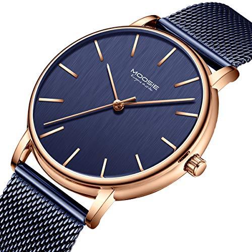 Men's Watches Simple Business Fashion Ultra Thin Unisex Minimalist Dress Analog Quartz Waterproof Wrist Watch with Mesh Band Dark Blue ()
