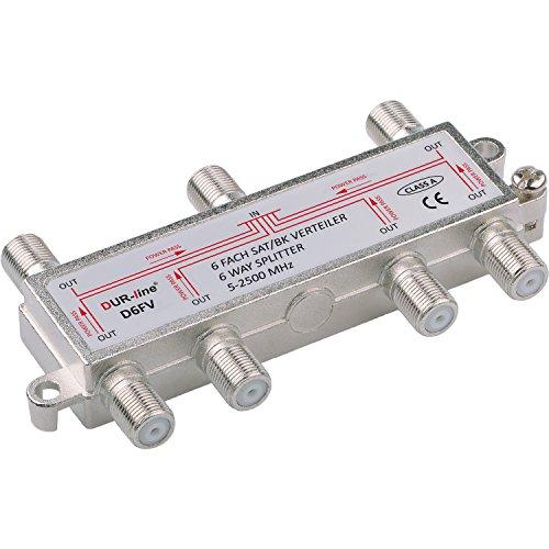 SAT & BK-Verteiler - 6-fach Splitter - voll geschirmt - unicable & HD tauglich [DUR-line D6FV - Verteiler für Satelliten-Anlagen(DVB-S2) - BK - UKW Radio - DC-Durchlass - TV Antennen Fernseh Verteiler]
