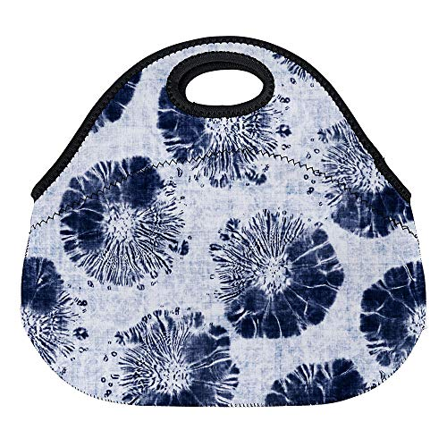 DKISEE Watercolor Modern Blue Batik Large & Thick Neoprene Lunch Bags Insulated Lunch Tote Bags Cooler Warm Warm Pouch for Women Teens Girls Kids Adults ()
