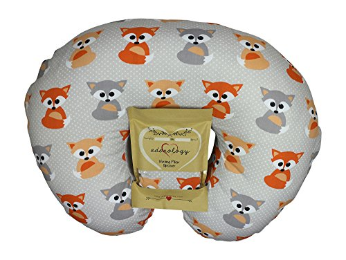 Nursing Pillow Slipcover Baby Gray Foxes Design Maternity Breastfeeding Newborn Infant Feeding Cushion Cover Case Baby Shower Gift for New Moms
