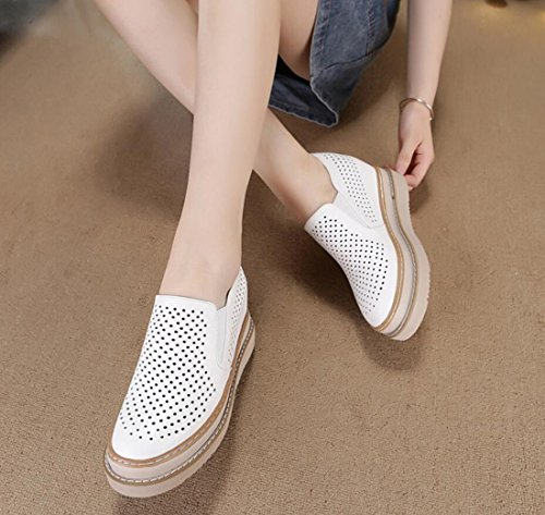 Ladies Shoes Low Women Shoes Heel Loafers Shoes White DANDANJIE top Hidden White Shoes Autumn Casual xR8Pw