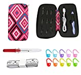 Lighted Crochet Hooks Set- Rechargeable Crochet Hook with Latest Case, 9 in 1 Interchangeable Heads Crochet Hook with Sewing Tool Accessories(Red)